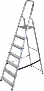 ap alpfa gmbh HAUSHALT-LEITER Stufen-Stehleiter 800075 Alu 7stf.