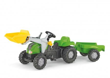 Trettraktor mit Anhänger Grün Frontlader Kinderfahrzeug Spielzeugauto Tretauto