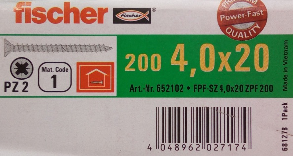 200x fischer Spanplattenschrauben 4, 0x20 PZ2 Holzschrauben verzinkt Vollgewinde - Vorschau 2