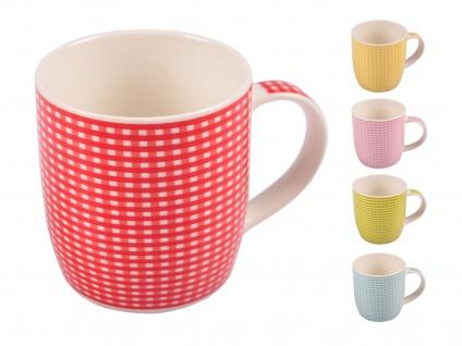 Kaffeetassen kariert aus Porzellan 375ml Kaffeebecher Kaffeetasse Teetasse Tasse