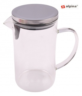 Alpina Glaskrug 1L mit Deckel Wasserkrug Saftkrug Saftkanne Wasserkanne Karaffe