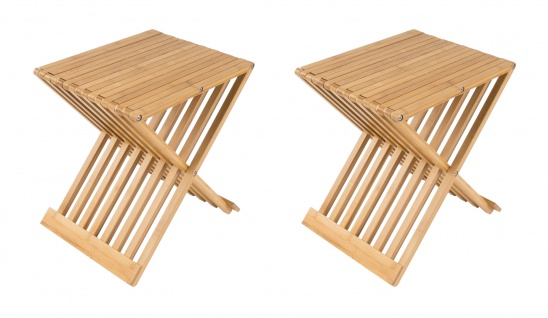 2x Bambus Klapphocker Partyhocker Gästestuhl