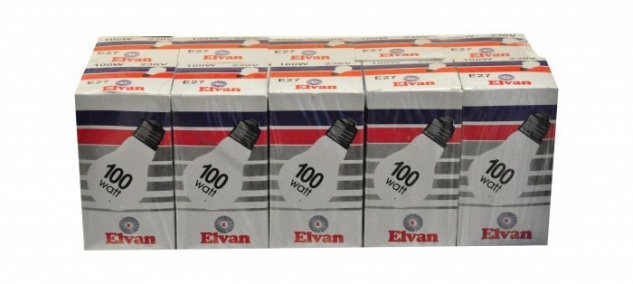 Elvan Glühbirne Glühlampe Lampe E27 100 Watt 100er ( 10x10 Stück)