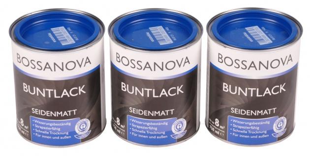 Acryl Buntlack 3x 0, 75 L enzianblau matt Metall Holz Lack Mattlack Decklack