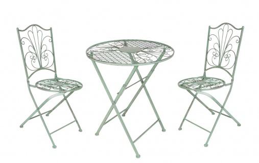 Metall Sitzgarnitur Klapptisch Klappstühle antik grün Gartentisch Gartenstühle