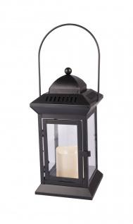 Metall-Laterne mit LED-Kerze 31cm Windlicht Gartenlaterne Terrassenlaterne Deko