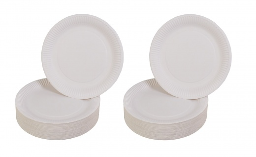 200er-Set Pappteller weiß Ø23cm Einweggeschirr Imbissteller Partyteller Catering