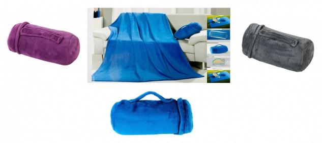 3in1 Mikrofaser-Set Tagesdecke Kissen Tasche Wohndecke Schlafdecke Kuscheldecke
