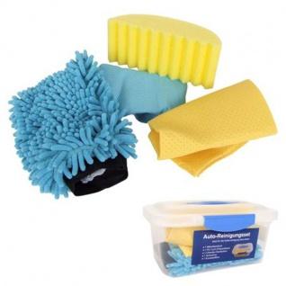 Auto-Reinigungsset 5tlg Mikrofasertuch Schwamm Tuch Handschuh Aufbewahrungsbox