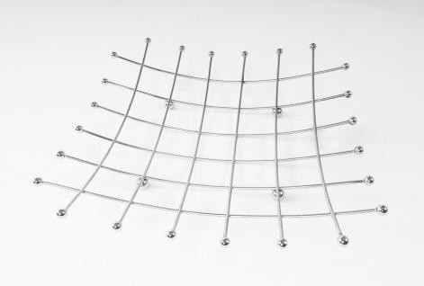 Metall Obstschale 35x35cm verchromt Obstkorb Dekoschale Brotkorb Metallschale
