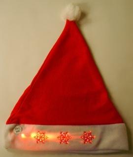 LED Weihnachtsmütze mit Bommel blinkend Nikolausmütze Mütze Weihnachten - Vorschau 2
