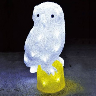 LED Dekofigur Eule 33cm Fensterdeko Tischdeko Eulenfigur Leuchtdeko Figurlampe
