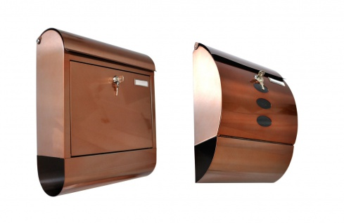Edelstahl Briefkasten Kupferfarben mit Zeitungsfach Postkasten Wandbriefkasten - Vorschau 1