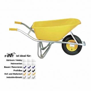 Extrem-Baukarre 100 Liter gelbe PE-Tiefmulde, Ovalrohrrahmen galvanisch verzinkt