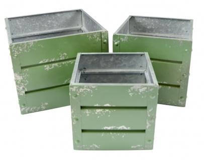 Zink-Übertöpfe grün Container-Design 3er-Set Pflanzkasten Blumentopf Pflanztopf
