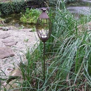 Metall-Gartenstecker Vogelkäfig Windlicht Beetstecker Gartendeko silber grau
