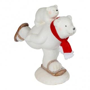 Deko-Figur Eisbär auf Schlittschuh 44x39x21cm Tierfigur Weihnachtsdeko Tischdeko