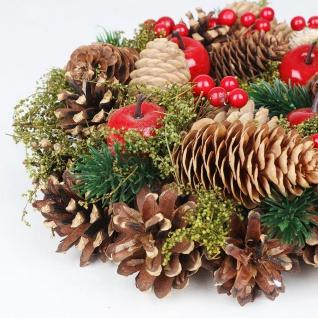 Weihnachts-Dekokranz mit Zapfen 25cm Türkranz Weihnachtsdeko Weihnachtskranz - Vorschau 3