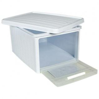 Box Elegance weiß Aufbewahrung 29x39x21 cm mit Deckel auflappbare Seitenwand