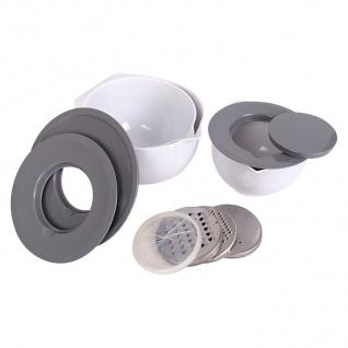 Multi-Schüssel-Set mit Edelstahl Reibe Hobel Spritzschutz Deckel Rührschüssel
