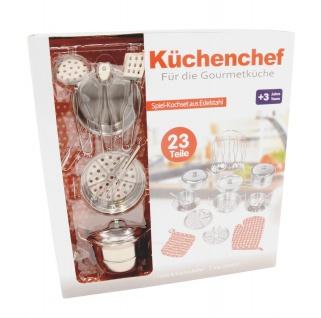 Spielküchen-Set aus Edelstahl 23-tlg Geschirrset Puppengeschirr Kinderküche