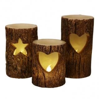 LED-Windlichter Baumstamm 3er-Set Weihnachtskerzen Dekokerze Wachskerze Kerzen - Vorschau 1