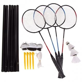 Badminton-Set mit Spielnetz Badminton Spielset Federball für 4 Personen + Tasche