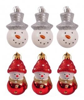Weihnachtsbaumschmuck Schneemann 3er-Set Christbaumkugeln Deko Anhänger 6, 5cm
