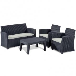 Allibert Lounge Sitzgruppe Merida Graphit Gartenmöbel Gartenset Terrassenmöbel - Vorschau 1