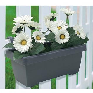 Balkonkasten mit künstlichen weißen Gerbera Blumenkasten Kunstpflanze Gartendeko
