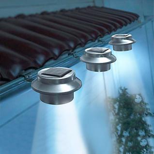 LED Dachrinnenleuchten 3er-Set aus Edelstahl Zaunleuchte Wegelicht Solarleuchten