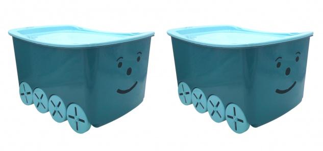 Kinderzimmer Box blau 2er-Set Aufbewahrungsbox Spielzeugkiste Kindermöbel Smiley