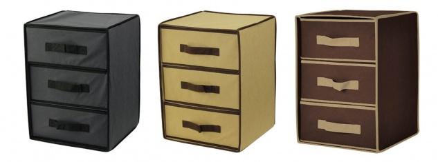 Stoffaufbewahrungsbox mit 3 Schubladen Aufbewahrungsbox Schubladenbox Stoffbox