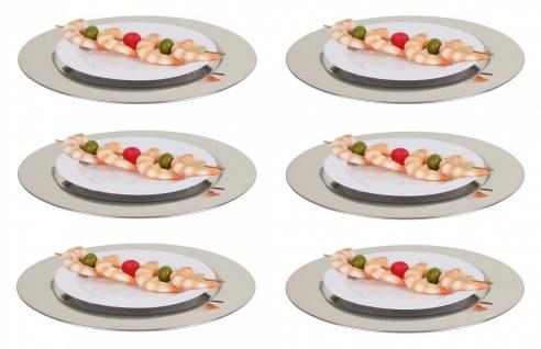 Edelstahl Platzteller 6er-Set Ø35cm Servierteller Dekoteller Unterteller silber