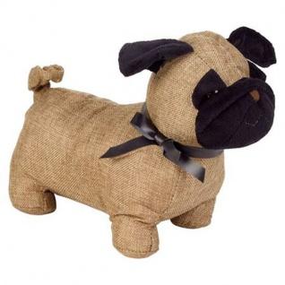 Türstopper Hund Mops Sandsack Türhalter Dekohund Stopper Puffer Deko Stofftier