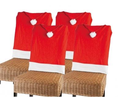 4er-Set Stuhlhusse Nikolausmütze Weihnachtsmütze Stuhlüberwurf Stuhlbezug Deko