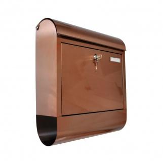 Edelstahl Briefkasten Kupferfarben mit Zeitungsfach Postkasten Wandbriefkasten - Vorschau 2
