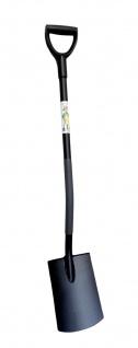 Ergonomic Flachspaten mit D-Stiel schwarz Gärtnerspaten Gartenspaten Grabespaten