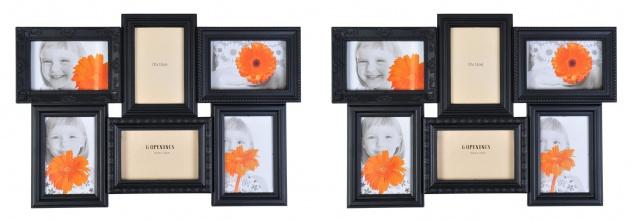 Antike Collage-Bilderrahmen 2er-Set Fotorahmen Multirahmen Fotogalerie schwarz