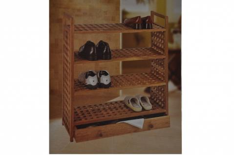 Schuh-Regal m Böden u Schublade Walnuss Regal Schuhe Schuhschrank Camping - Vorschau
