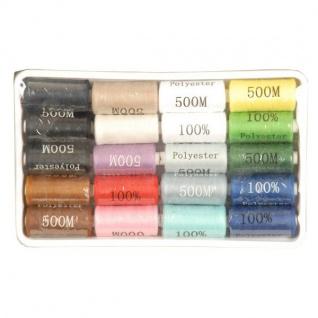 Nähgarn-Set 20 tlg. verschiedene Farben 100% Polyester Nähen Nähseide Zwirn