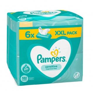 Pampers sensitiv Babytücher 6x 80er Feuchttücher Pflegetücher Reinigungstücher