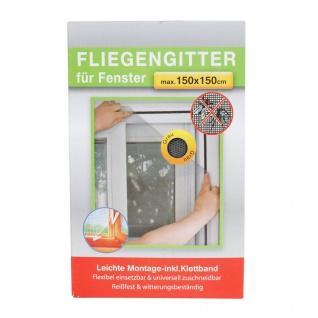 Fliegengitter für Fenster 150x150cm grau Insektenschutz Insektennetz Gitter Netz