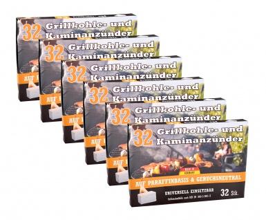 6x Kohleanzünder 32er-Pack Ofenanzünder Grillanzünder Kaminanzünder Anzünder