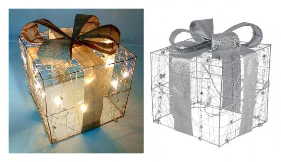 LED-Weihnachtsgeschenk 20cm silber oder gold Weihnachtsdeko Geschenkpäckchen