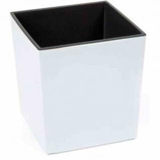 Pflanzgefäß BREST, weiß Hochglanzoptik, 30 x 30 x 31 cm Kunststoffgefäß mit Einsatz