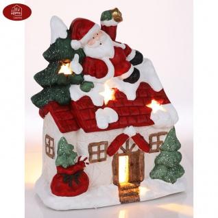 Weihnachtshaus mit Weihnachtsmann und Tannenbaum 36cm Teelichthalter Gartendeko