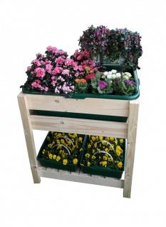 Massivholz Hochbeet mit Kunststoff-Wannen Pflanzkasten Blumenkübel Kräuterbeet
