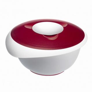 Rührschüssel weiß/rot 3, 5 l mit geteiltem Spritzschutzdeckel