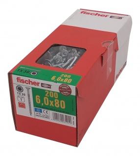 200x fischer Holzbauschrauben 6, 0x80mm TX30 Holzschrauben verzinkt Teilgewinde